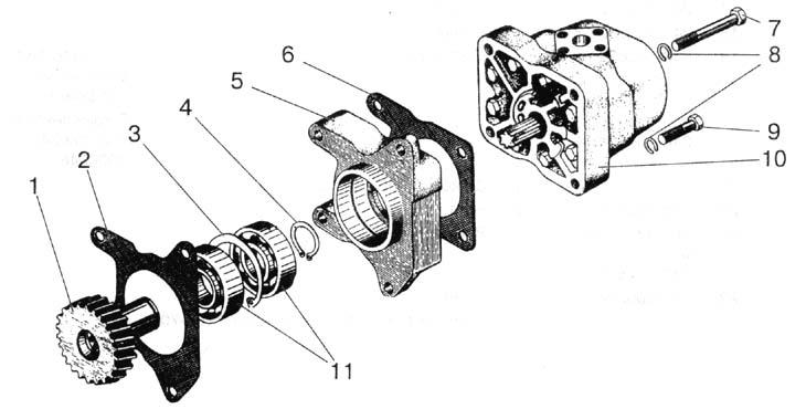Корпус гидроагрегатов, фильтр и привод гидронасоса.